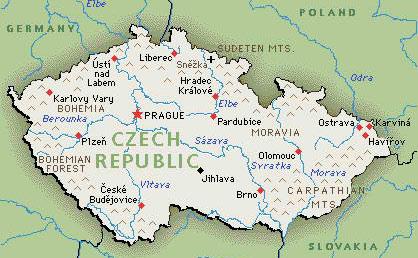 Kaart Tsjechie